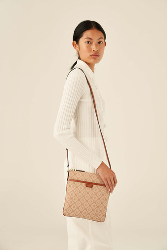 Oroton Elsie Portrait Crossbody in Cognac/Biscotti and Jacquard Fabric/Smooth Leather for female