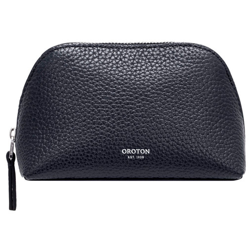 Oroton Anna Small Beauty Case in Denim Blue and Pebble Leather for female