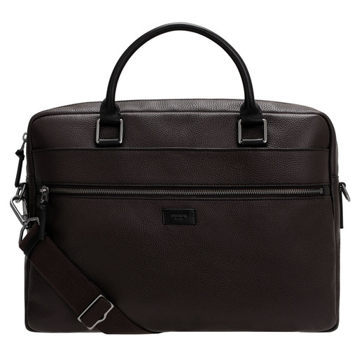 """Oroton Lucas 13"""" Griptop in Bitter Chocolate/Black and Pebble Leather for male"""
