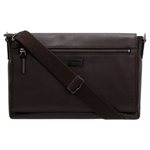 """Oroton Lucas 13"""" Satchel in Bitter Chocolate/Black and Pebble Leather for male"""