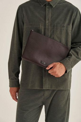 """Oroton Lucas 13"""" Laptop Cover in Bitter Chocolate/Black and Pebble Leather for male"""