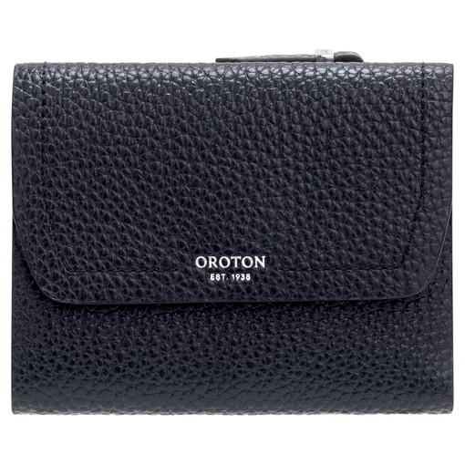 Oroton Anna Tri Fold Zip Wallet in Denim Blue and Pebble Leather for female