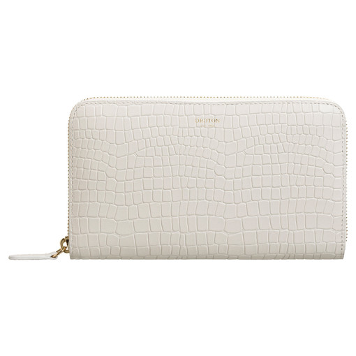 Oroton Forte Large Multi Pocket Zip Around Wallet in Cream and Croco Emboss Leather for female