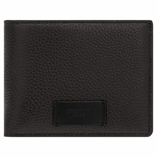 Oroton Lucas 12 Credit Card Zip Wallet in Bitter Chocolate/Black and Pebble Leather for male
