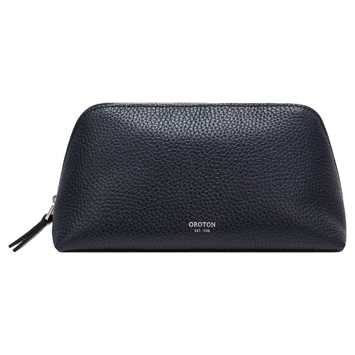 Oroton Anna Medium Beauty Case in Denim Blue and Pebble Leather for female