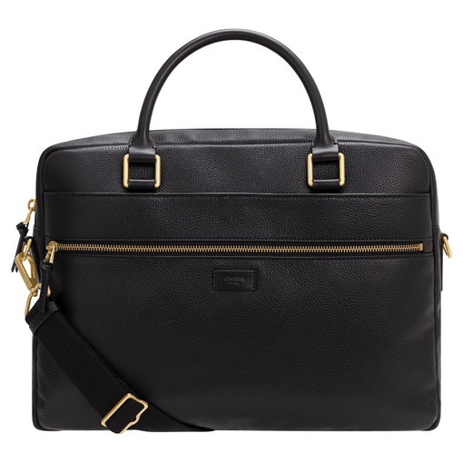 """Oroton Lucas 13"""" Griptop in Black and Pebble Leather for male"""