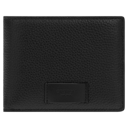 Oroton Lucas 8 Credit Card Zip Wallet in Black and Pebble Leather for male