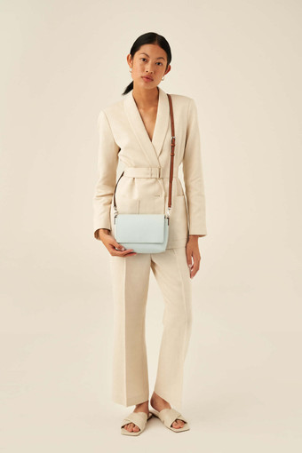 Oroton Harriet Crossbody in Chalk Blue and Saffiano Leather With Smooth Leather Trim for female