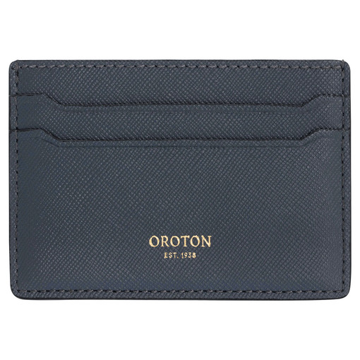 Oroton Inez Credit Card Sleeve in Charcoal and Soft Saffiano Leather for female
