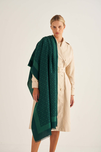 Oroton Hannah Scarf in Vintage Green and 40% Acrylic, 33% Viscose, 20% Nylon And 7% Wool for female