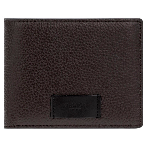Oroton Lucas 8 Credit Card Zip Wallet in Bitter Chocolate/Black and Pebble Leather for male
