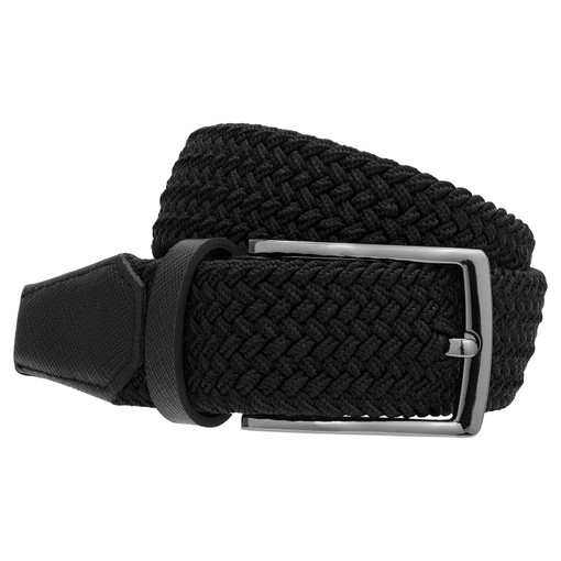 Oroton Hugo Woven Elastic Belt in Black and Saffiano Leather With Woven Elastic for male