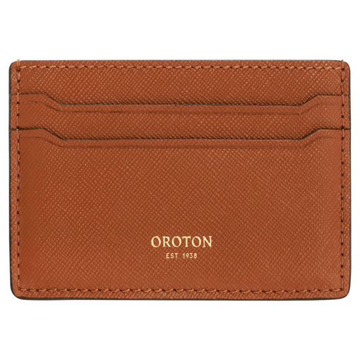 Oroton Inez Credit Card Sleeve in Cognac and Soft Saffiano Leather for female