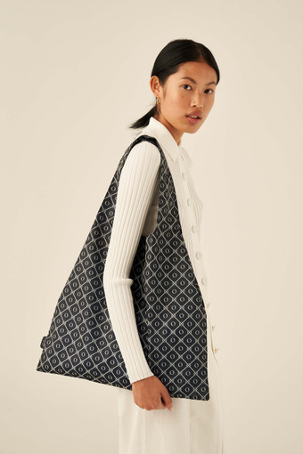 Oroton Elsie Packable Tote in Denim Blue/Cream and Printed Fabric for female