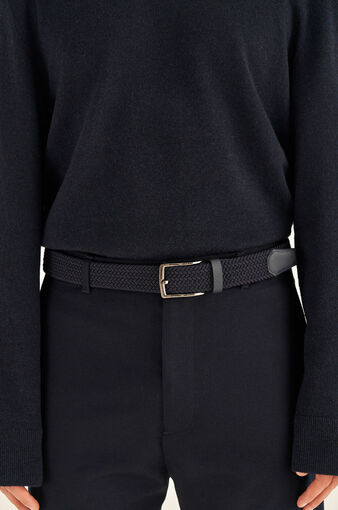 Oroton Hugo Woven Elastic Belt in Ink and Saffiano Leather With Woven Elastic for male