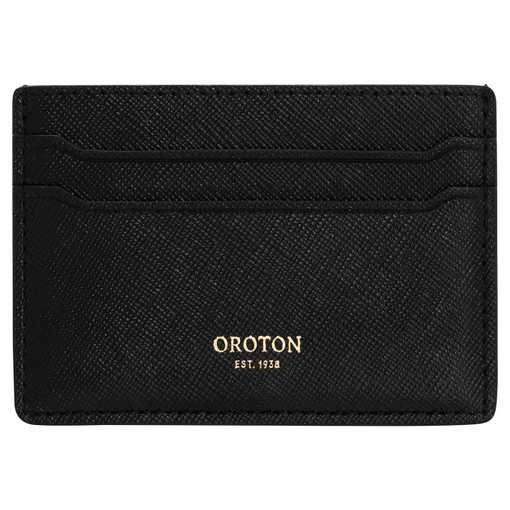 Oroton Inez Credit Card Sleeve in Black and Soft Saffiano Leather for female