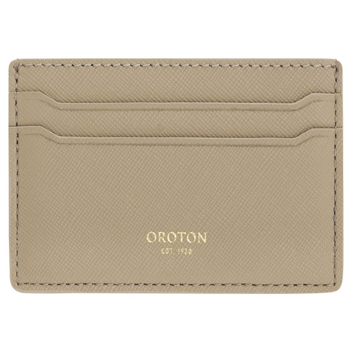 Oroton Inez Credit Card Sleeve in Fawn and Soft Saffiano Leather for female