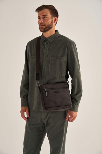 Oroton Lucas Small Satchel in Bitter Chocolate/Black and Pebble Leather for male