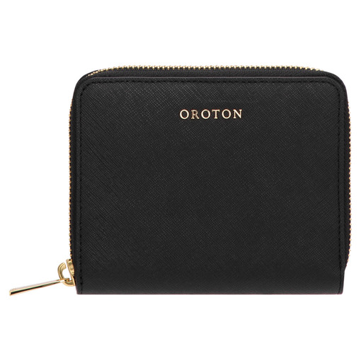 Oroton Maison Medium Zip Around Wallet in Black and Saffiano Leather for female