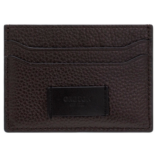 Oroton Lucas Credit Card Sleeve in Bitter Chocolate/Black and Pebble Leather for male