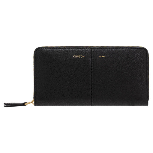 Oroton Tessa Book Wallet in Black and Soft Pebble Leather for female