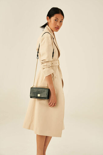 Oroton Mezzo Small Clutch in Pine Green and Texture Emboss Leather for female