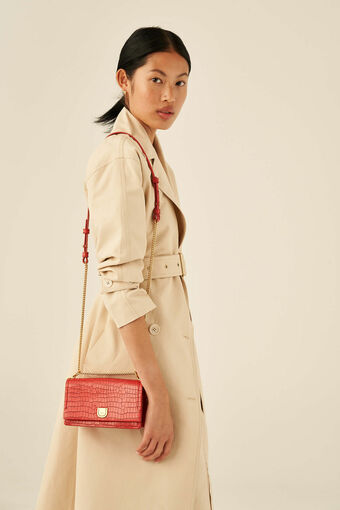 Oroton Mezzo Small Clutch in Candy Apple Red and Texture Emboss Leather for female