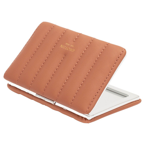 Oroton Fay Rectangle Mirror in Terracotta and Smooth Leather for female