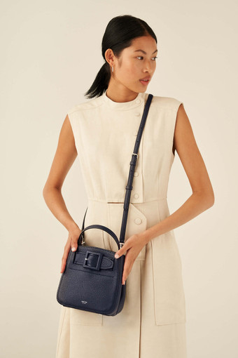 Oroton Avery Small Bucket Bag in Denim Blue and Soft Pebble Leather for female