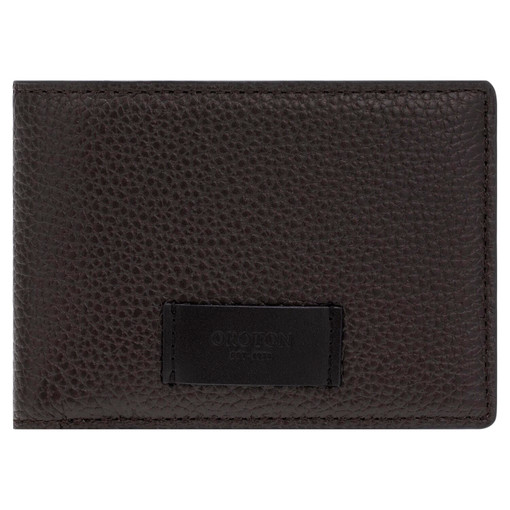 Oroton Lucas 4 Credit Card Mini Wallet in Bitter Chocolate/Black and Pebble Leather for male