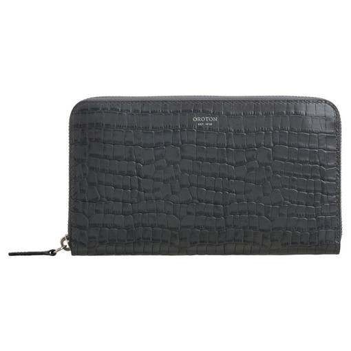 Oroton Forte Large Multi Pocket Zip Around Wallet in Charcoal and Croco Emboss Leather for female
