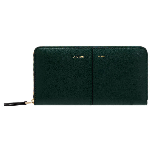 Oroton Tessa Book Wallet in Pine Green and Soft Pebble Leather for female