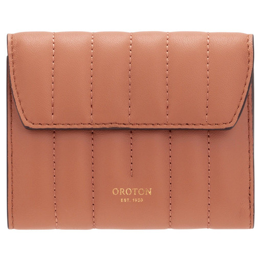 Oroton Fay Tri Fold Zip Wallet in Terracotta and Smooth Leather for female