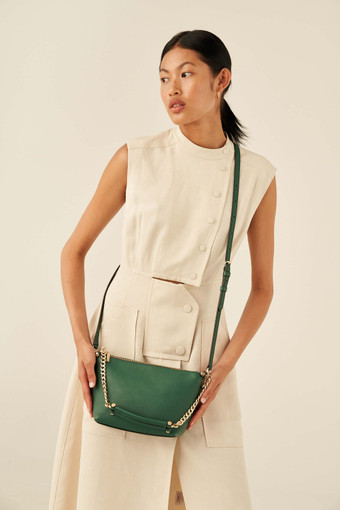 Oroton Nina Crossbody in Vintage Green and Pebble Leather for female