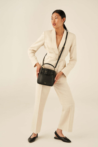 Oroton Avery Small Bucket Bag in Black and Soft Pebble Leather for female