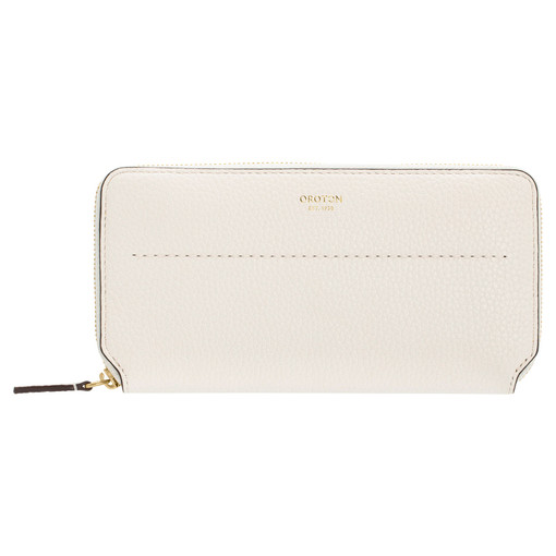 Oroton Avery Slim Zip Wallet in Cream and Soft Pebble Leather for female