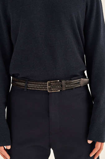 Oroton Lucas Woven Belt in Bitter Chocolate and Vegan Leather for male