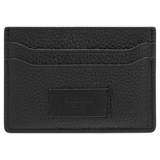 Oroton Lucas Credit Card Sleeve in Black and Pebble Leather for male