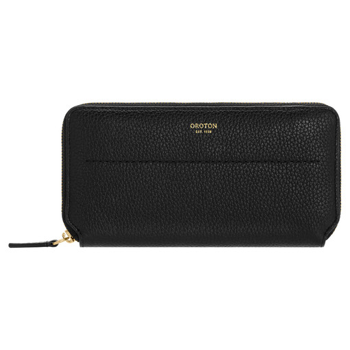 Oroton Avery Slim Zip Wallet in Black and Soft Pebble Leather for female