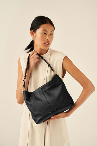 Oroton Tessa Hobo in Black and Soft Pebble Leather for female