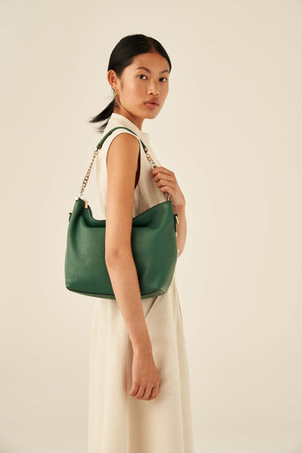 Oroton Nina Zip Top Hobo in Vintage Green and Pebble Leather for female