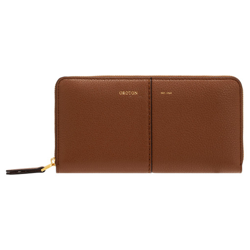 Oroton Tessa Book Wallet in Toffee and Soft Pebble Leather for female