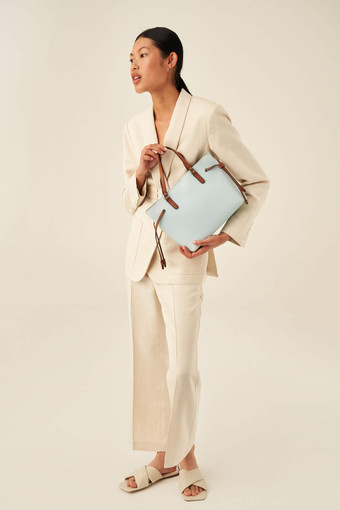 Oroton Harriet Mini Tote in Chalk Blue and Saffiano Leather With Smooth Leather Trim for female