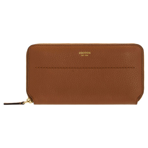 Oroton Avery Slim Zip Wallet in Toffee and Soft Pebble Leather for female