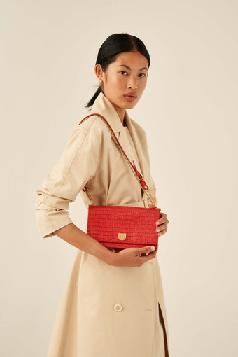 Oroton Mezzo Clutch in Candy Apple Red and Texture Emboss Leather for female