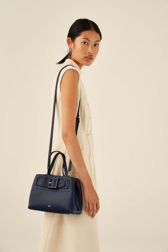 Oroton Avery Small Pocket Day Bag in Denim Blue and Soft Pebble Leather for female