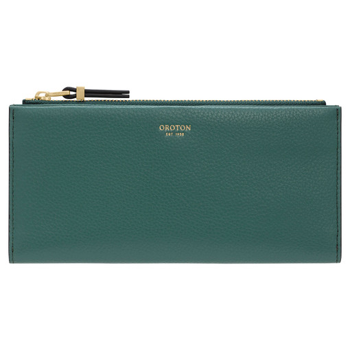 Oroton Sadie Soft Fold Wallet in Vintage Green and Pebble Leather for female