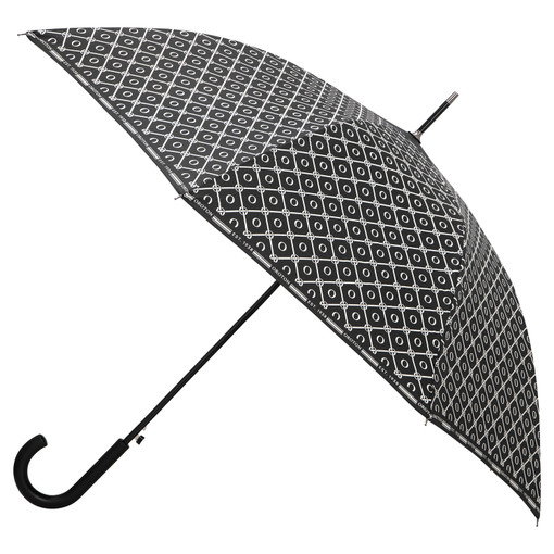 Oroton Parker Large Umbrella in Black/Cream and Printed Polyester for female