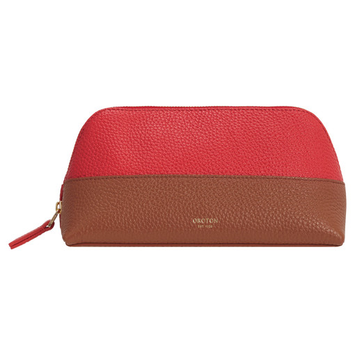 Oroton Anna Beauty Case Set in Cherry/Cognac and Pebble Leather for female