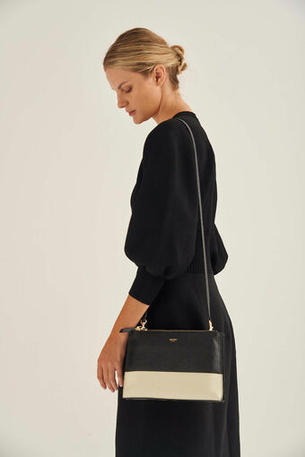 Oroton Anna Crossbody in Black/Linen and Pebble Leather for female